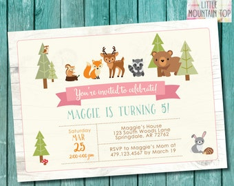 Woodland Birthday Invitation Woodland Animal Birthday