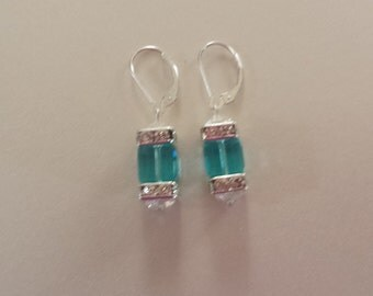 Light Turquoise  Swarovski crystal square earrings, 8mm  cube earrings with Sterling Silver interchangeable lever back earnings.