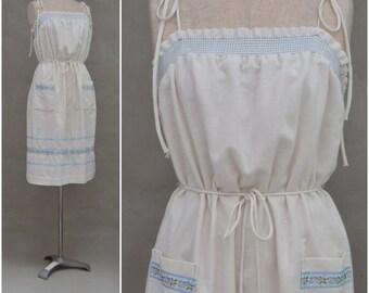 Vintage dress, 1970's summer sundress, Pretty cheesecloth smock, Romantic country / Prairie dress, Blue ribbon trim, smocked bodice, boho