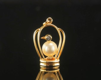 14k Gold Vintage Pearl and Diamond Bird Pendant