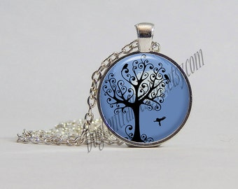 Womans Necklace Swirly Tree and Birds Picture Pendant Necklace