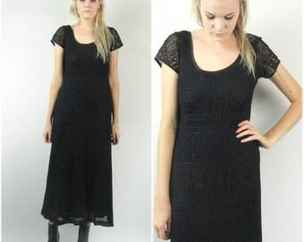 90s Crocheted Sheer Maxi Dress
