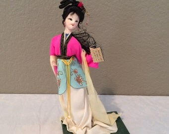 """Vintage Asian Doll on Felt Stand 9"""" Tall- Very Petite-Hand Made"""