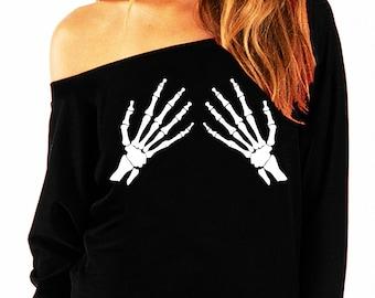 SKELETON HANDS Halloween Slouchy Sweatshirt Black and White, Halloween Shirt, Skeleton, Slouchy Sweatshirt, Skeletons