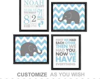 birth announcement boy, personalized baby boy gift, elephant baby nursery wall art, baby name birth details print, baby nursery art elephant