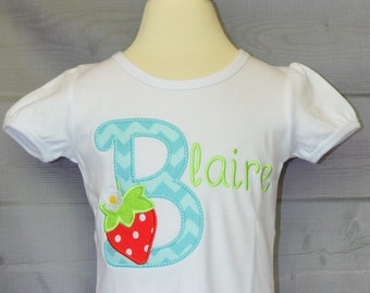 Personalized Strawberry Initial Applique Shirt or Onesie Girl