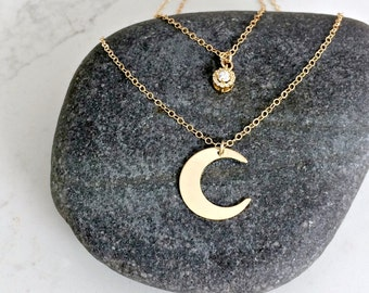 layered celestial moon pendant necklace cubic zirconia drop necklace cz layered necklace pave cz drop crescent moon 14kt gold filled moon