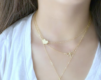 personalized layered necklace,heart necklace,handstamped initial,dragonfly,solar quartz,14k gold filled,multistrand necklace,beach,boho,gift