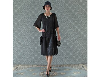Black 1920s dress, Great Gatsby dress, 1920s flapper dress, Charleston dress, 20s costume, Downton Abbey dress, 1920s clothing, 20er kleider