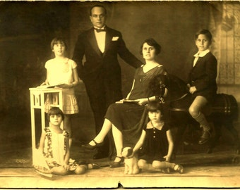 1910s ORIGINAL Antique ART NOUVEAU Cabinet Card Photo / Rich Boy (Riding his Toy Horse on Wheels) with his 3 Sisters & Parents (and Toy Dog)