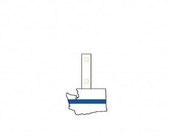 Thin Blue Line Washington - POLICE - In The Hoop - Snap/Rivet Key Fob - DIGITAL Embroidery Design