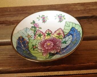 Cloisonné Dish, Bronze Floral Dish, Cloisonne Wall Hanging, Lotus Jewelry Trinket Dish, Chinese Decor, Asian Decorative Bowl, Asian Decor