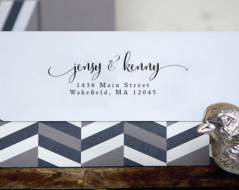 Personalized Custom Names Return Address Stamp Wedding Name Gift Card Handle Mounted Rubber Stamp Or Pre-inked Stamp Self inking Stamp RE805