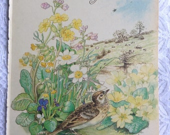 Vintage Botanical Book Page - April - Spring - Country Diary of an Edwardian Lady - Edith Holden - Shakespeare - Browning