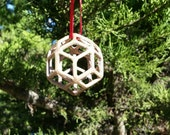 SALE - Rhombic Triacontrahedron Bronze 3D Printed and Cast Tree Ornament - Sacred Geometry