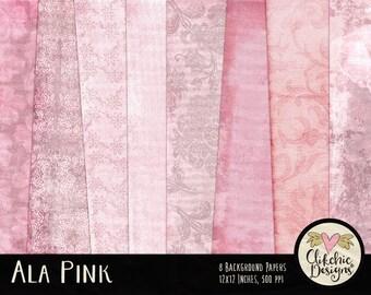 Soft Pink Digital Paper Pack - Ala Pink Digital Scrapbook Paper - Pretty Baby Pink Digital Backgrounds - Baby Pink Paper Pack