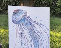 Jellyfish Wall Art - Original Zentangle Design on Canvas