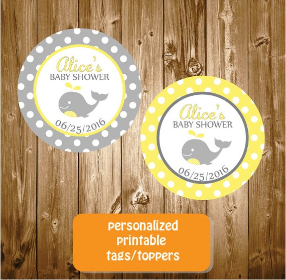 personalized whale baby shower stickers tags printable yellow and gray