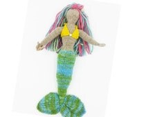 11 inch Waldorf toy Hand spun/Hand dyed knitted wool Mermaid doll
