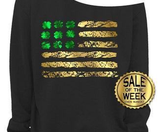 St PATRICKS DAY SHIRT - IRISh American - Irish Shirt - Ladies Sweatshirt - Shamrock - American Flag - Green & Gold Foil - In Black - s-3x