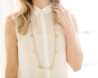 Ava Necklace || Mountain jasper & brass