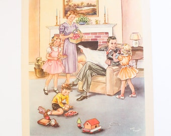 1951 MIDCENTURY ART Print Family Kay Draper Vintage Paper Wall Hanging Sunday School Teaching Aid Poster 1950s At Home Together John 15:12