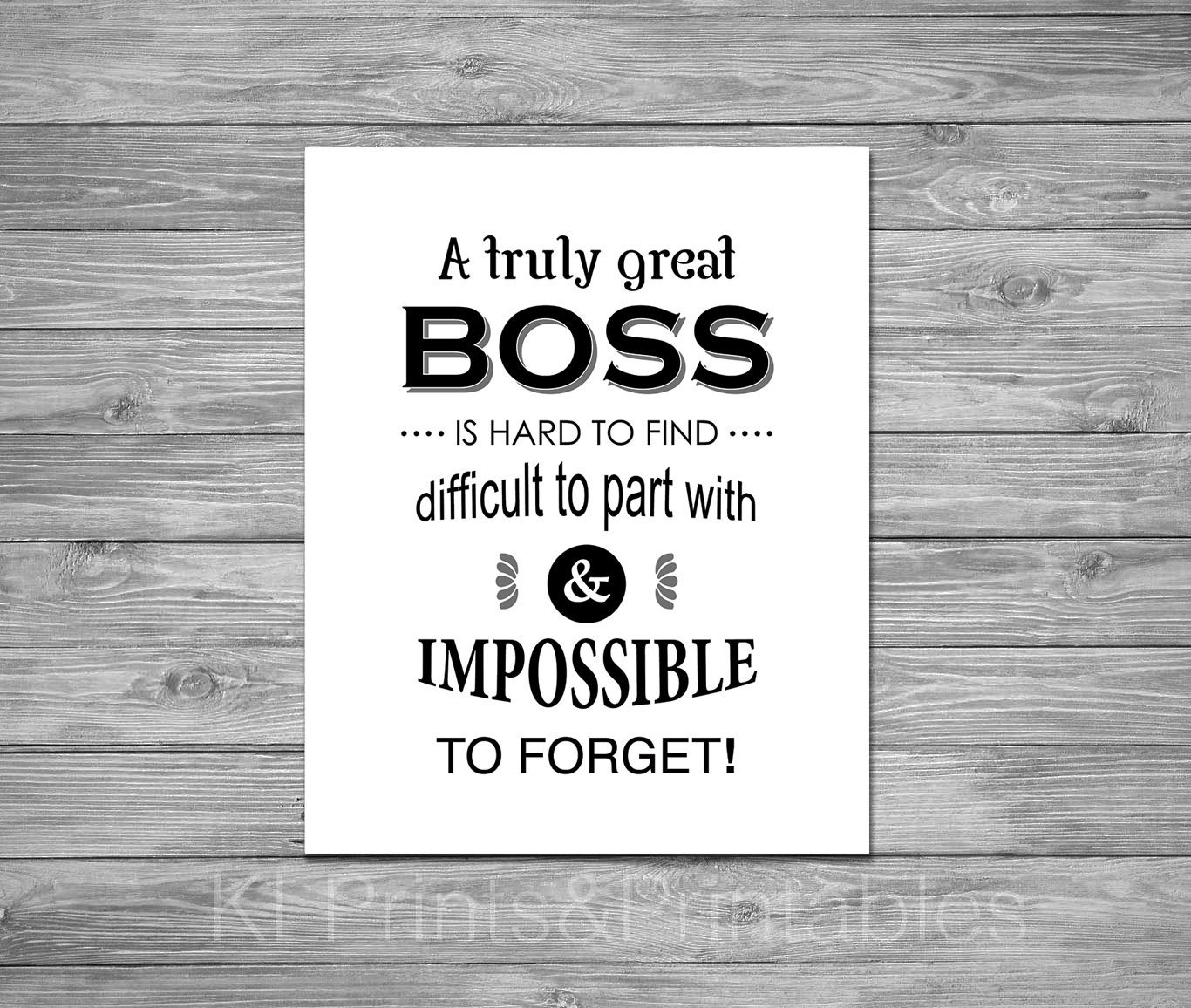Thank You Quotes For Your Boss: Boss Appreciation Print Printable Boss Gift Black And