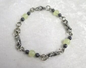 Yellow Jade and Hematite bracelet