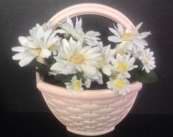 vintage Homco hanging half round wall flower planter faux basket weave texture