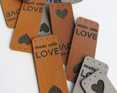 0.75 x 2 Custom Knitting Tags - faux leather - faux leather Knitting Tags