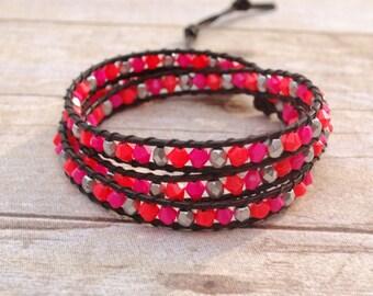 Neon leather wrap bracelet, beaded leather bracelet, bead bracelet, leather bracelet, womans gifts, jewelry gifts, woven bead bracelet
