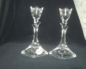 DePlomb Crystal Tulip Candlesticks