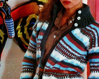 Cardigan with Turtleneck Collar Vintage Knitting Pattern Download