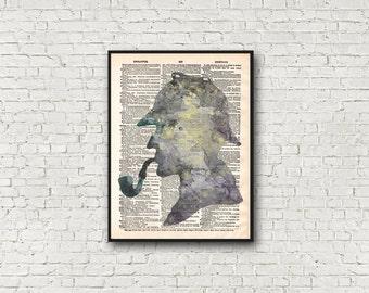 Sherlock Holmes Dictionary Art Print Conan Doyle Detective Silhouette Wall Decor