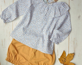 Girls Blouse Long Sleeve Autumn Time Blue/Brown