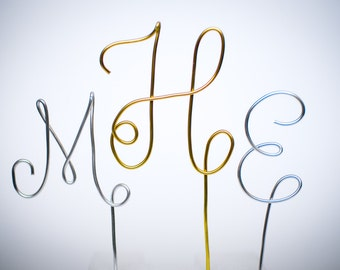 Triple Monogram Initial - Silver and Gold Wire Cake Topper