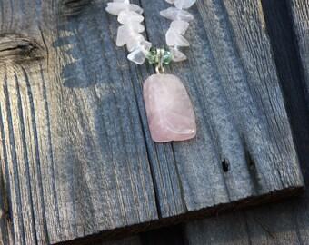 Rose Quartz and Swarovski Crystal Springtime Necklace