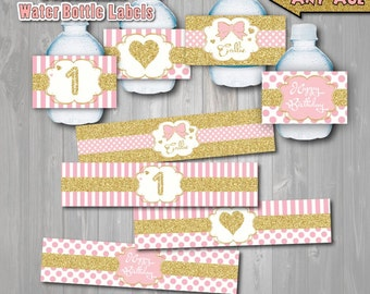 Pink and Gold Birthday Party Pintable Water Bottle Labels, Gold and Pink Birthday,Printable Pink and Gold Party,Pink and Gold First Birthday