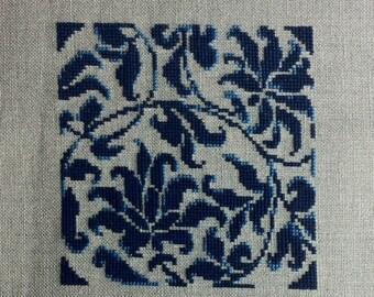 """Floral motive """"Chinese china"""" - Cross stitch"""