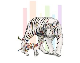 New Generation Wall Art Illustration Tiger Cub Rainbow Nature Limited Edition Print