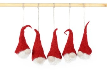 Xmas tree decoration - felted Santa Claus - set of hanging ornaments for Christmas tree - Xmas decor - handmade holiday decorations [H14]