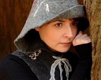 SALE -20% - Gray hooded cowl - felt hooded scarf in grey - felted hoodie scarf - wool cowl scarf with hood [IS35]