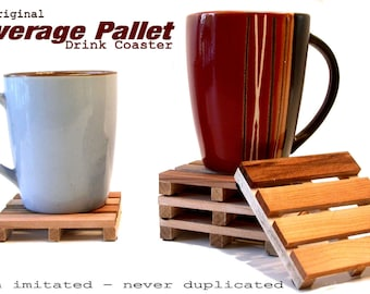 4 Beverage Pallet Drink Coasters - Coffee Coaster  - Natural Reclaimed Wood - PRICE REDUCED - JUST 8.99