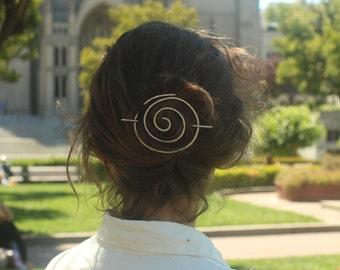 Spiral hair slide hammered silver hair barrette rustic copper bun holder brass hair clip modern metal hair accessories hair jewelry pins