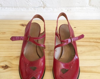 1940s Cherry Red Peep Toes  // 40s Red Heels // Vintage 1940s Shoes