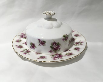 royal albert sweet violets covered butter dish