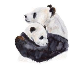 Panda Bear Art - Panda Nursery Decor - Mother and Baby Animal Print - Asian Wall Art - Panda Home Decor - Chinese Art Print - Black - White
