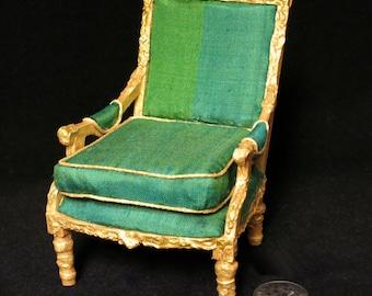 Miniature Louis XVI neoclassical fauteuil à la reine. Ornate gilt frame, striped green silk upholstery. Hand made in USA.