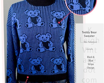 Vintage ADELE Black and Blue Striped Teddy Bear Knit Sweater, 80s Pull Over Sweater, Mock Turtle Neck, Cuffed Sleeves, Winter Fashion