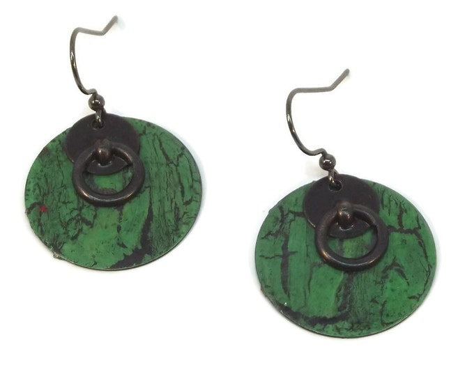 Hand Crackle Painted Green Door Knocker Dangle Drop Earrings, OOAK, One of a Kind, Nickle Free Ear Wires